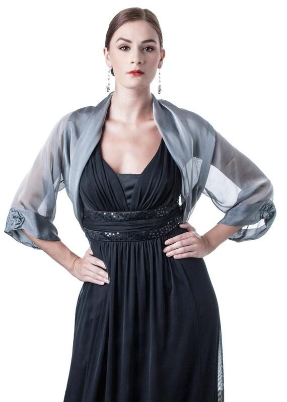 Silver-Grey Silk Evening Bolero Jacket FIRST LADY/ Sizes XS - 4Xl