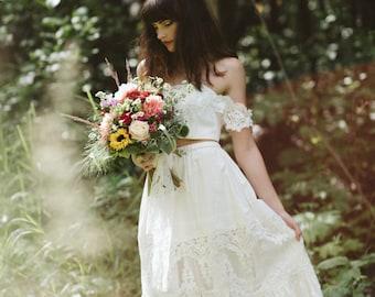 Bridal Crop top and Bridal Petticoat skirt set, boho wedding dress, tiered lace skirt, crop top, 2 piece prom dress, boho prom