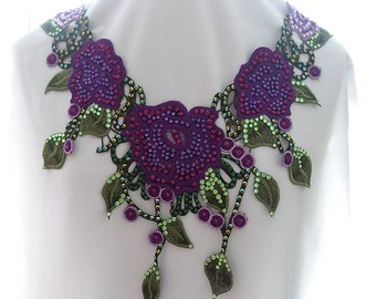 Purple Rose Applique Statement Necklace, Purple Floral Lace Necklace, Rhinestone and Lace Fiber Necklace, Embroidered Rose Necklace