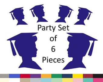 Graduation Boy Silhouette DIY Centerpiece Confetti Graduation Party Table Decorations Party Supply Pick Your School Colors