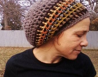 DREAD HAT Natural Handmade Crochet Hat Rasta Hat Wool Hat Slouch Hat Dreadlock Tam Dread *Heather Grey & Stripes*