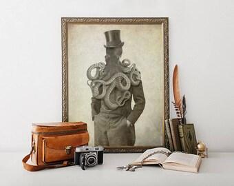 Octo Man 8x10, Octopus, Octopus Print, Octopus Art, Bathroom Decor, Octopus Wall Art, Nautical Decor, Ocean, Ocean Decor, Beach Decor