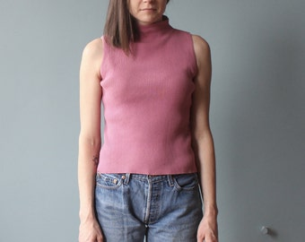 pink sleeveless turtleneck | mauve ribbed mock turtleneck | 90s small