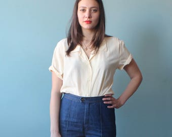 vanilla silk blouse | cream button up short sleeve top | 1990s small - large