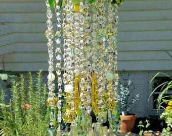 Antique Crystal Wind Chime, Lemon Lime Crystal Wind Chime, Pistachio Wind Chime, Garden Decor, Home Decor, Crystal Sun Catcher
