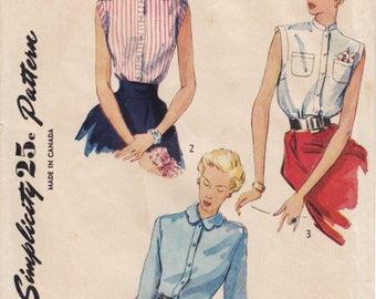 Vintage Pattern Simplicity 3092 Blouse 40s Size 14 B32