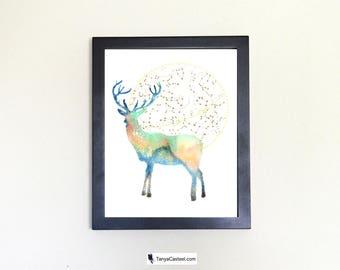 Deer Spirit Animal Art Print Watercolor Totem Guide