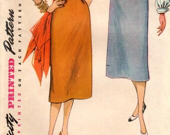 1950s Simplicity 4254 Vintage Sewing Pattern Misses Slim Skirt Size Waist 24, Waist 26