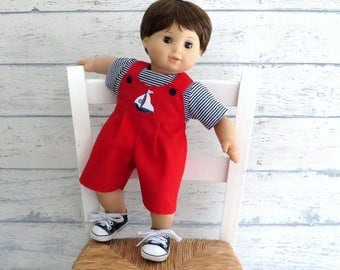 15 inch Boy Doll Saiboat Romper with Striped Tee Shirt, Red Overall Shorts, Blue White Shirt