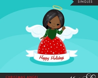 Christmas Angel Clipart 2. Dark skin African American, holiday, ornaments, illustration, graphic, cute, character, religious