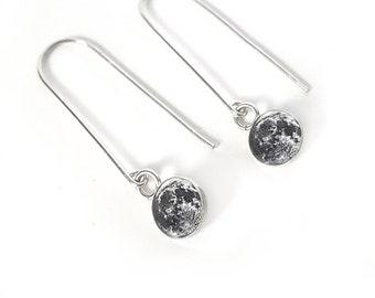 Sterling Silver Moon Earrings on Long Hooks, Small, Earth's Moon, Full Moon, Space, .925 Silver, Dangle, Drop, Astronomy, Long Earrings
