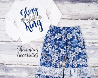 Baby Girl Christmas Outfit, Toddler Girl Clothes, Top Ruffle Pants Set Glory to the Newborn King Religious Charming Necessities Blue Silver