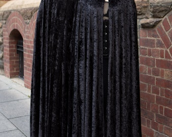 Medium Black Crushed Velvet Cloak