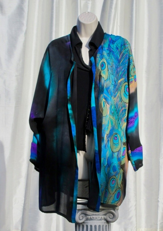 Hand Painted Silk Jacket with Peacock Feather Motif - Free Domestic Shipping