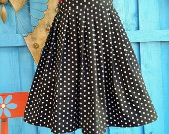 Womens High Waisted Black and White Polka Dot Rockabilly Skirt