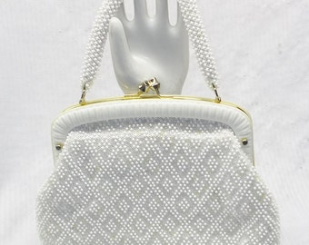 1960s Vintage White and Pastel Beaded Purse Hand Made in Hong Kong
