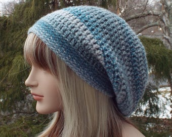 Striped Blue Slouchy Beanie, Womens Crochet Hat, Boho Slouchy Hat, Oversized Slouch Beanie, Hipster Hat, Slouch Hat, Baggy Beanie