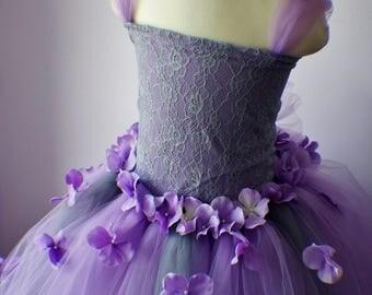 Flower Girl Dress, Tutu Dress, Photo Prop, Purple Flower Dress, Lace Top, Cascading Flowers, Tutu Dress, Lavender Dress, Gray Dress