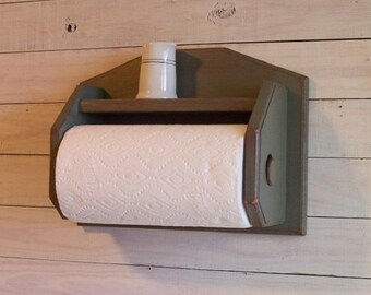 Farmhouse Style Wall Mount Paper Towel Holder Kitchen Shelf Storage Aged in Sage Green Color Choice