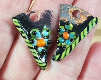 Green  Flower Twisty  Copper Torch and Kiln Fired Enameled 1 pair Charms Earring components Whimsical
