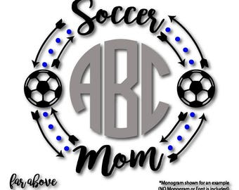 Soccer Mom Monogram Wreath with Soccer Balls (monogram NOT included) SVG, EPS, dxf, png, jpg digital cut file for Silhouette or Cricut Mama