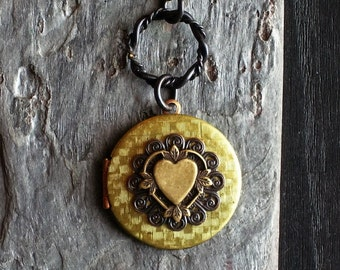 Heart locket, vintage brass locket , long necklace, holiday gift ideas, gift ideas for mom, unique Christmas gift