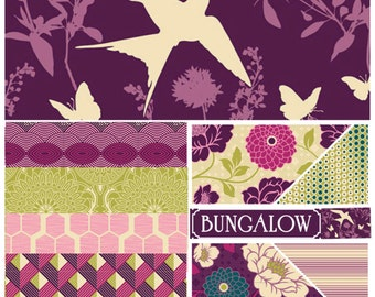 SALE Joel Dewberry Bungalow fabric: Half yard set of 10, Bramble palette