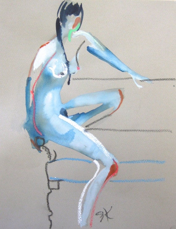 Nude painting- Original watercolor painting of Nude #1418 by Gretchen Kelly