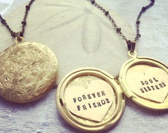Custom locket necklace Personalized jewelry, Soul Sisters, Forever Friends, hand stamped, Personalized locket necklace for BFF