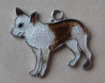 Chiwawa Dog Puppy Charm Enamel White Brown Cloisonné Vintage 925 Silver