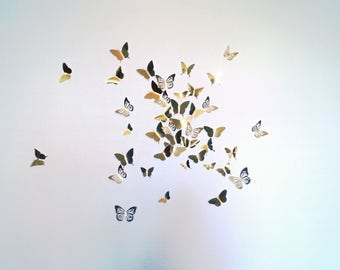 3D Butterfly Wall Art Decal Set of 40 in Metallic Gold Foil, Paper Butterflies, Modern Art, Nursery, Bedroom, Living Space,