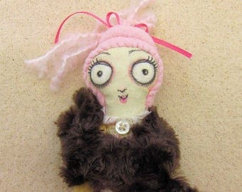 Macy - pink OOAK girl handmade heirloom rag doll
