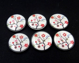 """6 Handmade Cherry Blossom Buttons.  3/4"""" or 20 mm Flower Sewing Buttons. Craft or Novelty Buttons Made by Me.  Washer and Dryer Safe."""