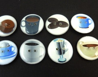 """8 Coffee Themed Buttons.  Two Hole Sewing Buttons. 3/4"""" or 20 mm. Coffee Bean,s Cafe Latte, Cafe Mocha, Cappuccino Handmade By Me."""