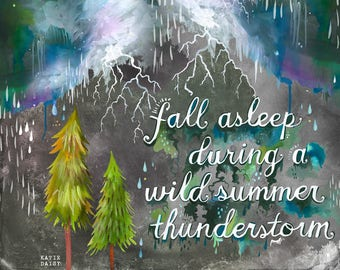 Summer Thunderstorm   Horizontal Print    Watercolor Painting   Katie Daisy Nature Wall art   8x10   11x14
