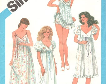 1980s Simplicity 6468 Misses Empire Waist Nightgown and Baby Doll Pajamas Pattern Womens Vintage Sewing Pattern Size 6 & 8 Bust 30 31 UNCUT