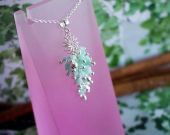 Sterling Silver Mint Alabaster Necklace