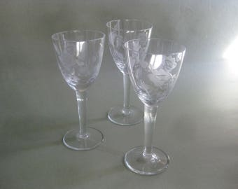 Vintage Etched Mid-Century Cordial/Sherry Stemware Set of 3 Rose Pattern