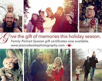 Standard Family Portrait Session Gift Certificate Photo Shoot
