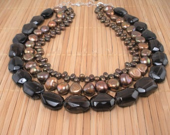 Smoky Quartz and Chocolate Pearls Multistrand Necklace- Chocolate Pearls Necklace- Trend Jewelry- Statement Necklace- Brown Multistrand