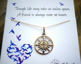 Compass Necklace, friendship necklace, compass jewelry, graduation gift for her, college graduation gift, best friend gift, bridesmaid gifts