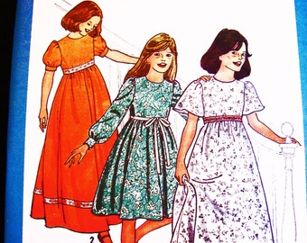 1970s Girls Maxi Dress Pattern Tween Teen Girls size 14 Bust 32 Long Sleeve Puff Sleeve Short Sleeve Empire Waist Dress Sewing Pattern Uncut