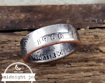 1966 Coin Ring Quarter Double Sided Your Size MR0705-Tyr1966