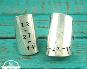 Whole Spoon Ring Personalized Hand Stamped Date