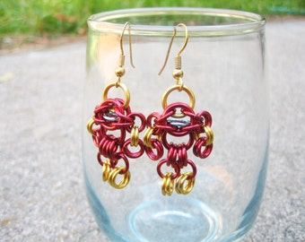 Iron Man Themed Chainmaille Maille Man Earrings