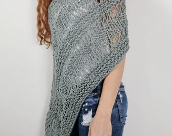 Hand knit little cotton poncho knit scarf knit shrug sage woman sweater