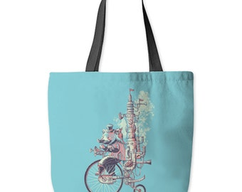 Sunday Stroll Tote Bag, Bear Tote Bag, Bicycle Tote Bag, Steampunk, Cute Bag, Poly Poplin, Made in USA