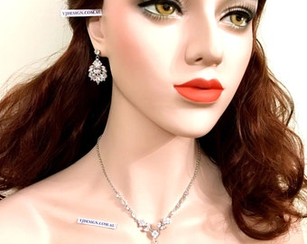 Marquise Bridal Jewelry Set, Vine Bridal Necklace, Leaves Bridal Earrings, Woodland Wedding Jewelry, Marquise Zircon Cz Earrings, CASSANDRA