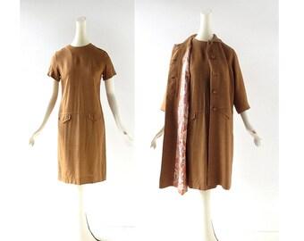 1960s Dress and Coat | Linen Dress | 60s Dress | XS