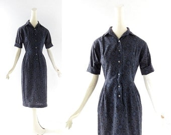 1950s Day Dress | The Archivist | Blue 50s Dress | XXS XS